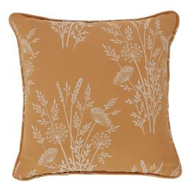 Argos Home Jacquard Country Floral Cushion - Mustard