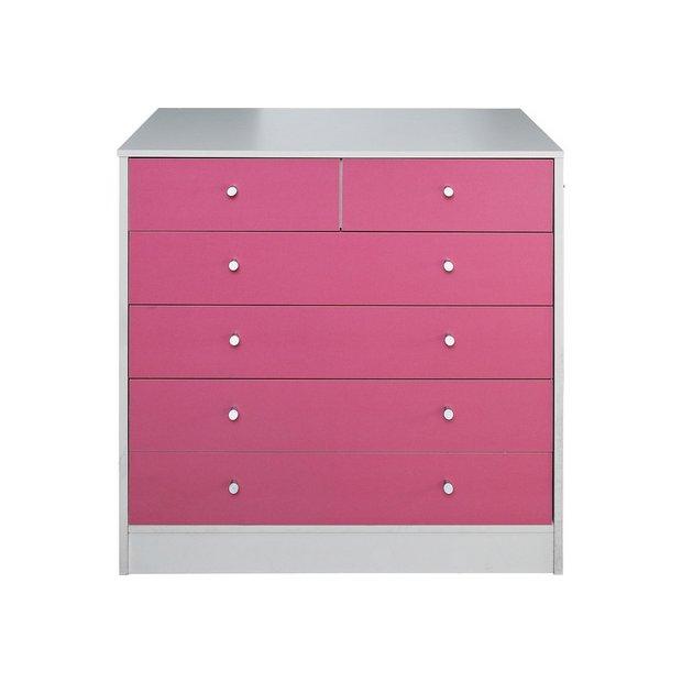 buy home malibu 4 2 drawer chest pink on white kids. Black Bedroom Furniture Sets. Home Design Ideas