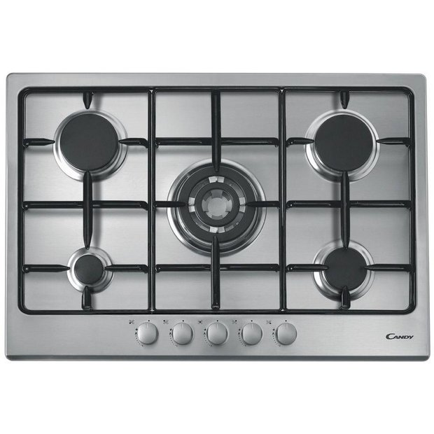 buy candy gpg75sqpx 75cm gas hob stainless steel at. Black Bedroom Furniture Sets. Home Design Ideas