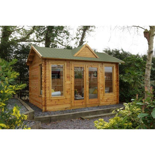 buy forest alderley wooden log cabin 14 x 10ft at argos. Black Bedroom Furniture Sets. Home Design Ideas