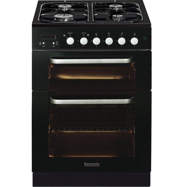 buy baumatic bcg625bl 60cm gas twin cooker black at. Black Bedroom Furniture Sets. Home Design Ideas