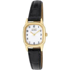 Citizen Ladies' Gold Tone Black Strap Eco-Drive Watch. Best Price and Cheapest