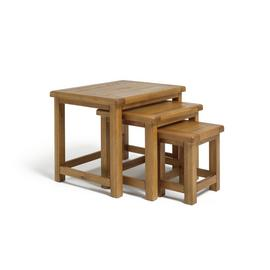 Argos Home Kent Nest of 3 Solid Oak & Oak Veneer Tables