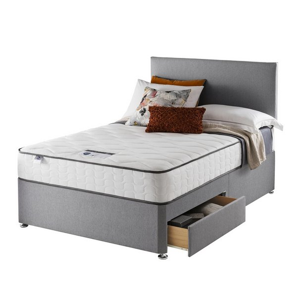 Buy silentnight harding pocket comfort double 2 drw divan for Double divan bed no headboard