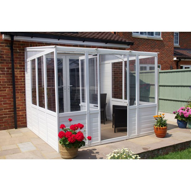 Buy norfolk greenhouses sunroom upvc greenhouse x 8 for Sunroom garden room