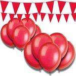 more details on Giant Bunting and Balloon Set - Red.