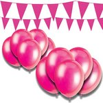 more details on Giant Bunting and Balloon Set - Fuchsia.