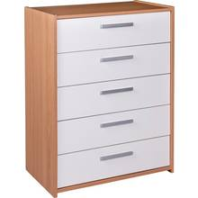 HOME New Sywell 5 Drawer Chest - Oak Effect & White Gloss
