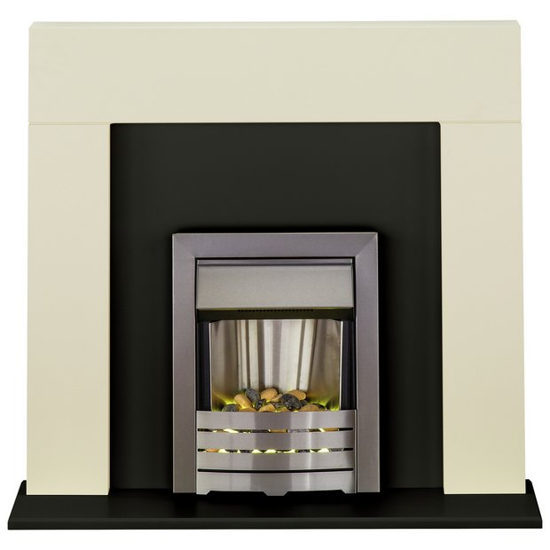 Buy Adam Miami 2kw Electric Fireplace Suite Ivory Black At Your Online Shop