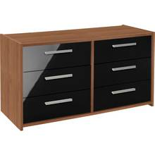 HOME New Sywell 3+3 Drawer Chest - Walnut Effect/Black Gloss