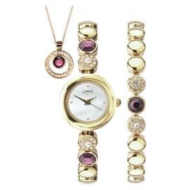 Limit Ladies' Gold Plated Bracelet, Necklace and Watch Set