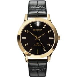 Sekonda Men's Black Leather Strap Diamond Watch