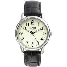 Limit Men's Black Strap Glow Dial Watch