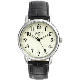 Limit Men's Black Leather Strap Watch