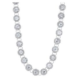Anne Klein Round Glass Pave Crystal Collar Necklace