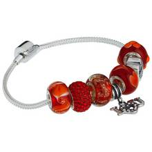 Moon & Back Sterling Silver Made Up Red Love Bracelet