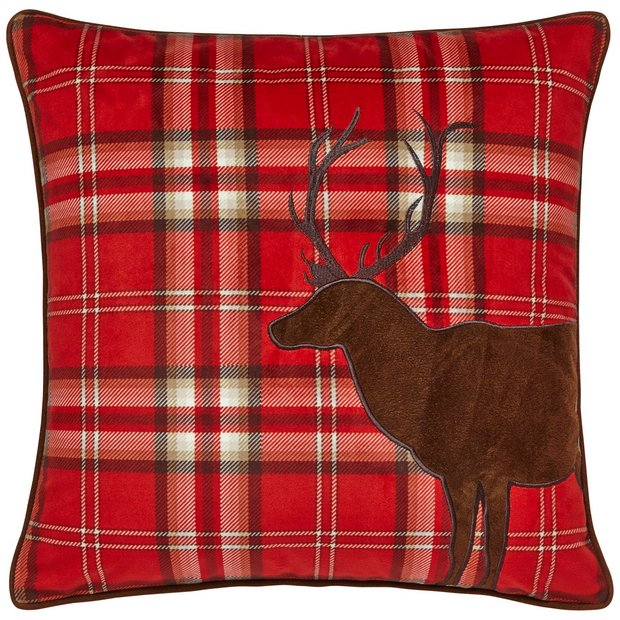 buy catherine lansfield tartan stag cushion red at argos. Black Bedroom Furniture Sets. Home Design Ideas