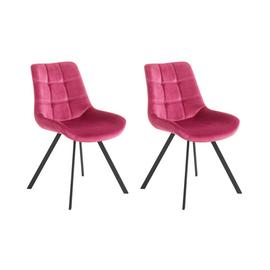Argos Home Tribeca Pair of Velvet Dining Chairs -Berry Pink