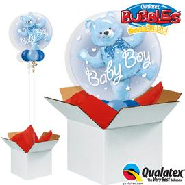 Baby Blue Bear Double Bubble Balloon in a Box.