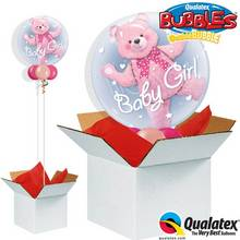 Baby Pink Bear Double Bubble Balloon in a Box.