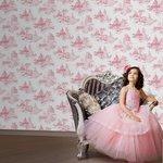 more details on Disney Princess Toile Wallpaper - Pink.