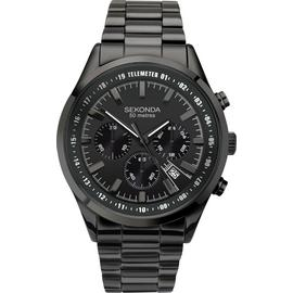 Sekonda Men's Black Steel Bracelet Chronograph Watch