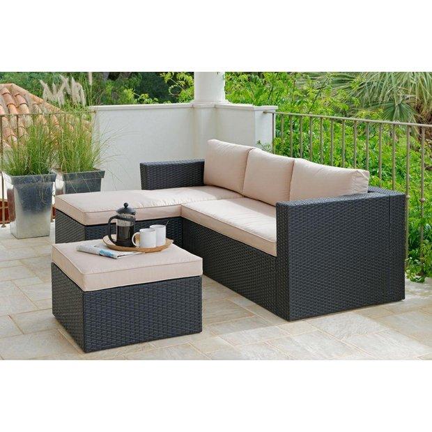 Br Thult Corner Sofa Bed Review: Buy Rattan Effect 3 Seater Mini Corner Sofa