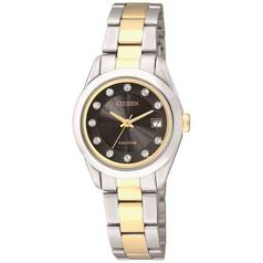 Citizen Ladies' Eco-Drive Black Dial Two Tone Watch