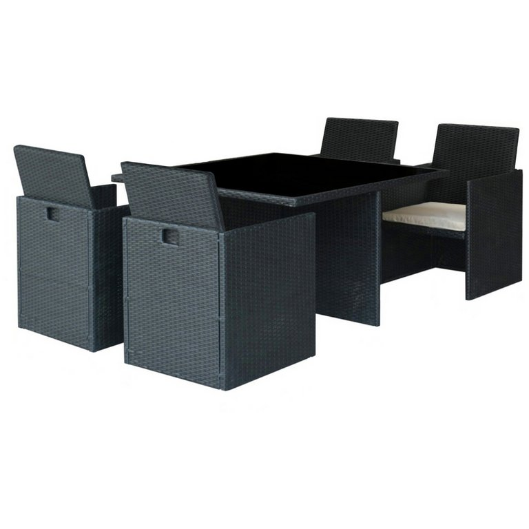 Garden Furniture 4 Seater buy cube rattan effect 4 seater patio set - black at argos.co.uk