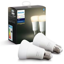 Philips Hue E27 White Smart Bulbs with Bluetooth -2 Pack