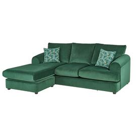 Argos Home Atticus Left Corner Velvet Sofa - Green