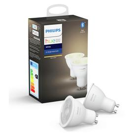 Philips Hue GU10 White Smart Bulbs with Bluetooth- 2 Pack