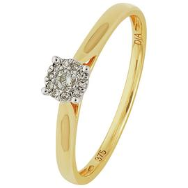 Revere 9ct Gold Diamond Accent Halo Cluster Ring