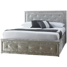 GFW Hollywood Crushed Velvet Ottoman Kingsize Bed Frame