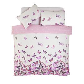Argos Home Pink Trailing Butterflies Bedding Set - Double