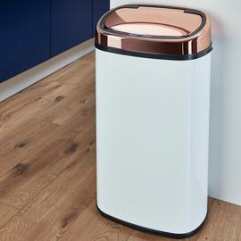 Tower 58 Litre Sensor Bin - Rose Gold and White