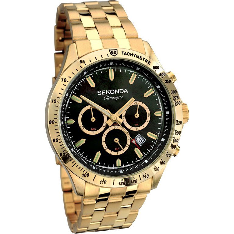 buy sekonda classique s chronograph gold tone bracelet