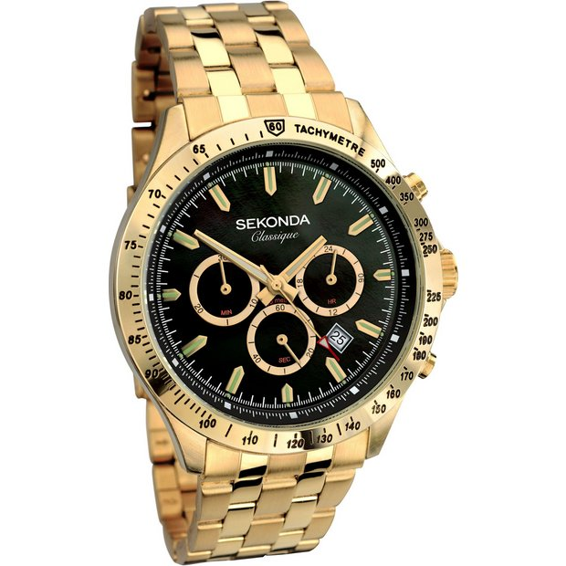 buy sekonda classique men s chronograph gold tone bracelet watch buy sekonda classique men s chronograph gold tone bracelet watch at argos co uk your online shop for men s watches watches jewellery and watches