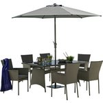 more details on Collection Havana Rattan Effect Grey 6 Seater Patio Set