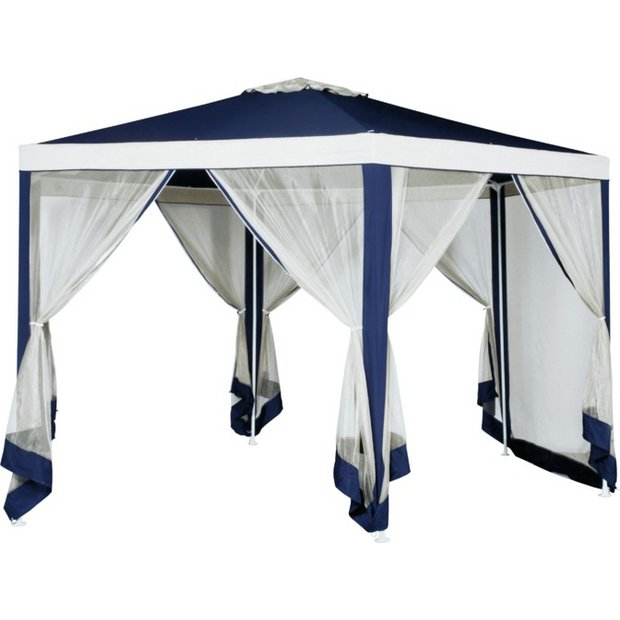 detailed look 50116 ac5b5 Buy Argos Home 4m Hexagonal Garden Gazebo with Side Panels -Blue   Gazebos,  marquees and awnings   Argos
