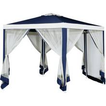 HOME Hexagonal 4m Blue & Cream Garden Gazebo w/ Mesh Panels