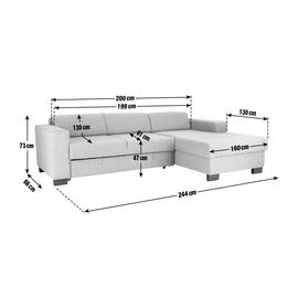 Argos Home Ava Corner Fabric Sofa Bed - Light Grey
