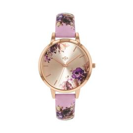Spirit Ladies Floral Lilac Leather Effect Strap Watch