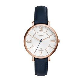 Fossil Ladies Jacqueline Navy Leather Strap Watch