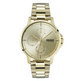 HUGO Men's Focus Gold Plated Bracelet Watch