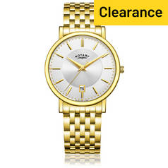 Rotary Men's Stainless Steel Bracelet Slim Gold Plated Watch