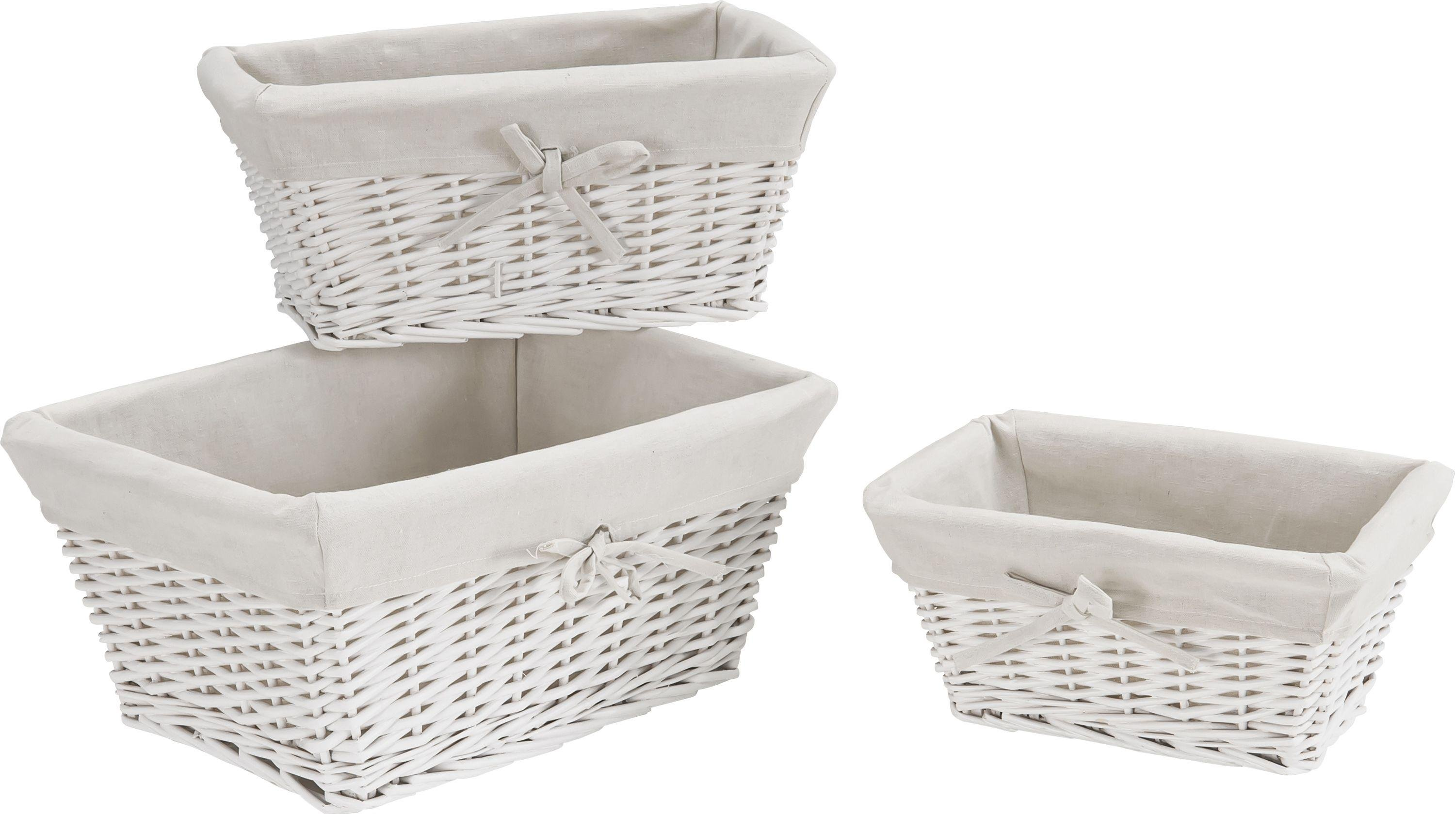 Home underbed storage baskets wicker underbed storage basket - Heart Of House Willow Set Of 3 Storage Baskets White