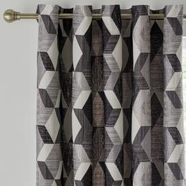 Argos Home Jacquard Lined Eyelet Curtains - Monochrome
