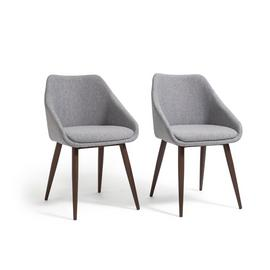 Habitat Skandi Pair of Fabric Dining Chairs - Grey