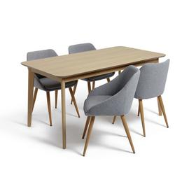 Argos Home Skandi Oak Veneer Dining Table & 4 Chairs